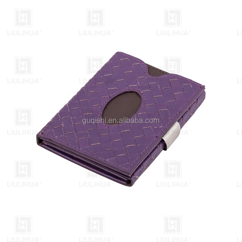 Promotional Women Slim Durable Genuine Leather wallet ID Credit Card Money Clip Wallet