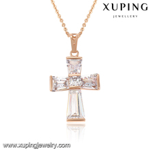 32760-Cheap chinese fashion simple rose gold plated top designs new model cross zirconia pendant for women