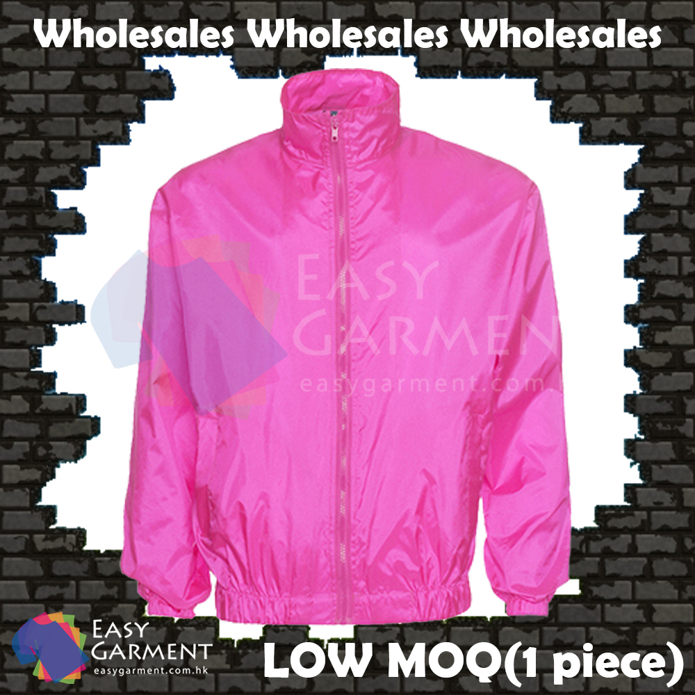 Wholesales WB001 100% polyster LOW MOQ Shocking Pink Jacket windbreaker