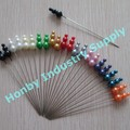 Customized pantone color plastic steel stright body triple gourd pearl Head Pins for decoration