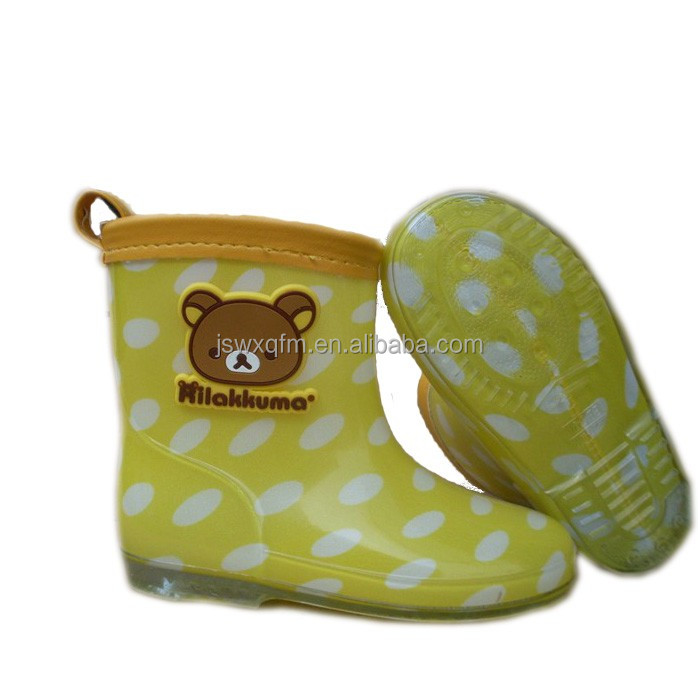 PVC rain boot shoes with lights for kids waterproof rain shoes