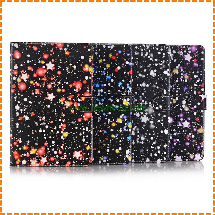 Cartoon Print Starry sky design Flip Stand Leather Case For iPad Mini 4