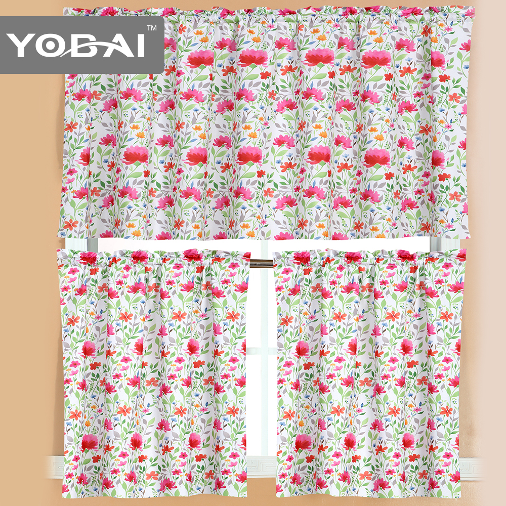 New Decorative Unique Modern Floral Printing Kitchen Curtains