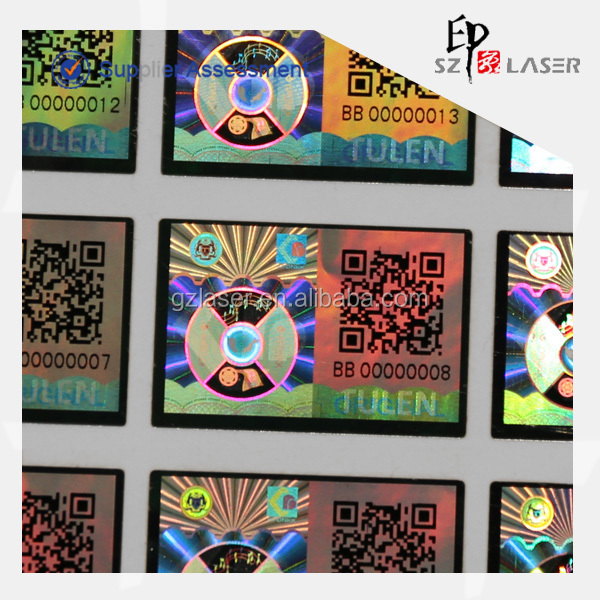 Heat sensitive ink printing for QR code hologram security sticker