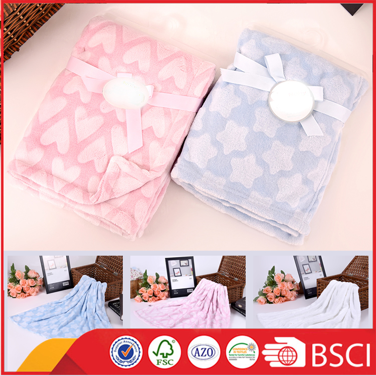 super soft double layer emboss thick knitted flannel fleece baby blanket