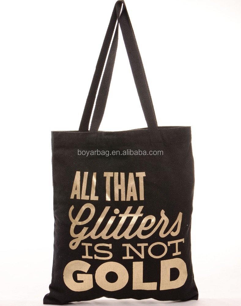 Black Customized Two Side Printing Cotton Bag Canvas Tote