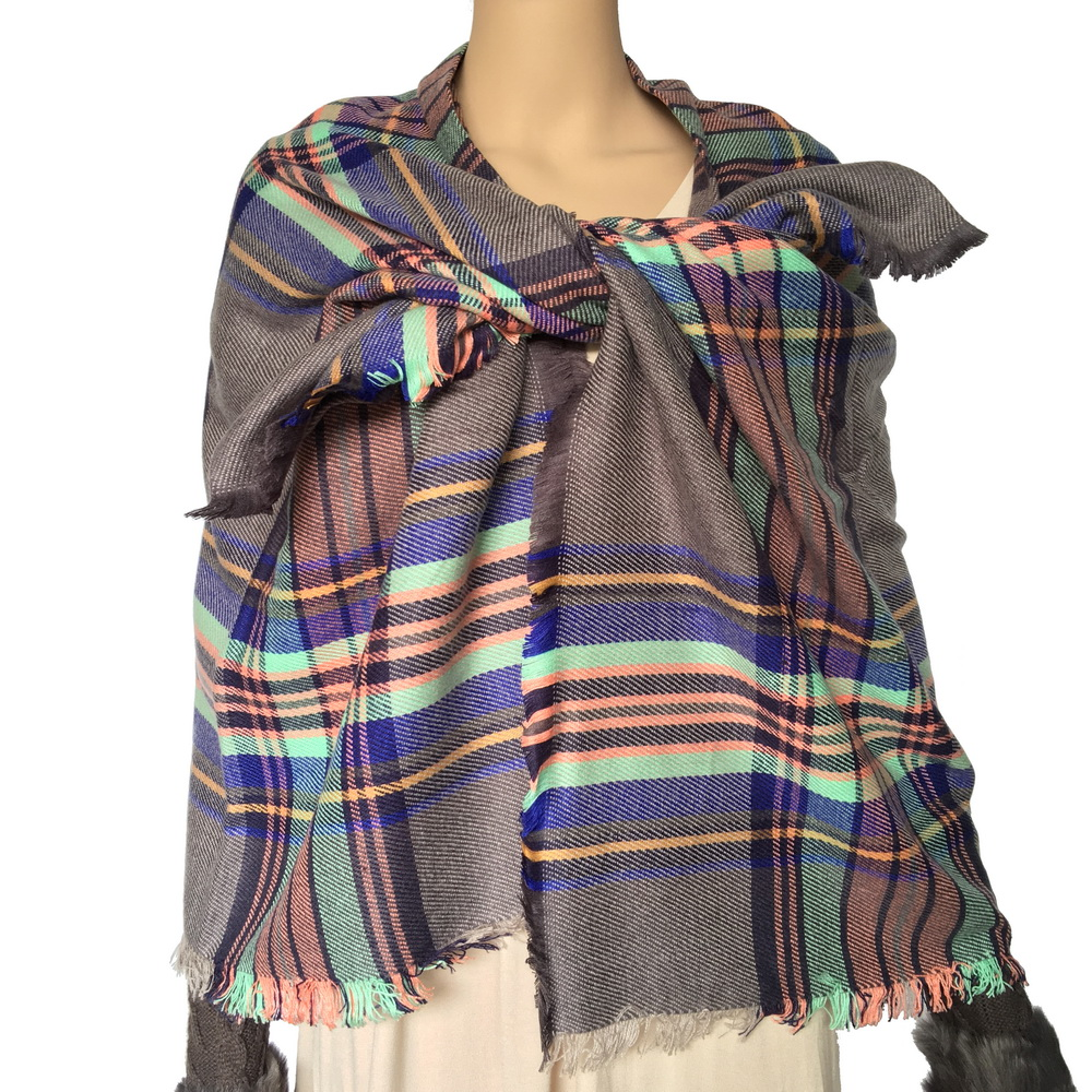 stock clearance tartan acrylic blanket scarf shawl 148*138cm on sale cheap check scarf