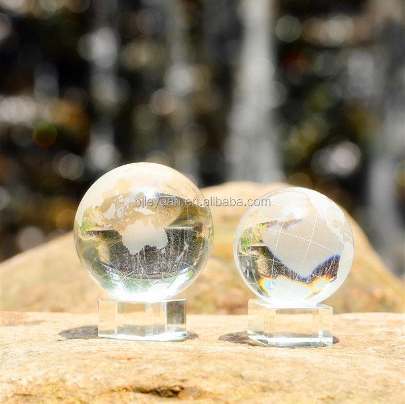 Decorative crystal glass world globe with base crystal glass earth ball paperweight
