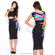 New European Fashion Women Sexy Plus Size Knee Length Criss Cross Back Bodycon Celebrity Party Bandage Dress