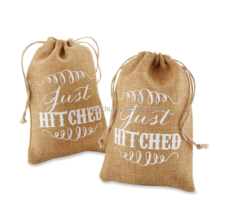 Popular top grade jute burlap wedding favor bags with rope string