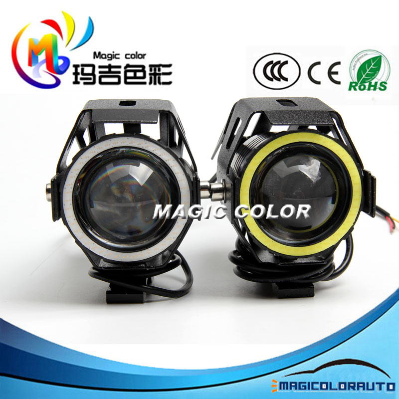 New Product U7 LED Motorcycle Spot Lights w/ White COB Angel Eye Red Devil Lights