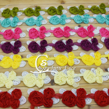 3'' shabby chiffon flowers , shabby chiffon leaf flowers for hair acessories , apperal accessories