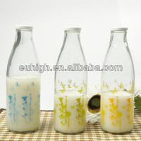 1liter empty glass milk bottle with color printing