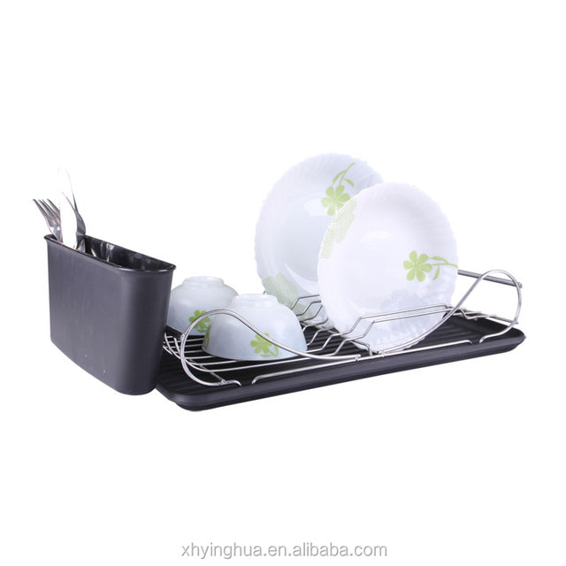 Iron Wire Chrome plated Dish Rack with utensil holder