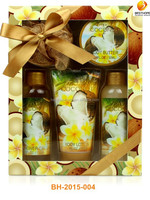 shower and bath gift set-tropical coconut harvest body cleansing gel, lotion, butter, bubble bath, puff