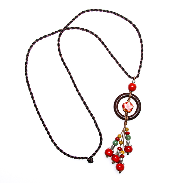 Women necklace painted ceramics choker ethnic jewelry pendant fashion sweater chain necklace with beads tassel necklace