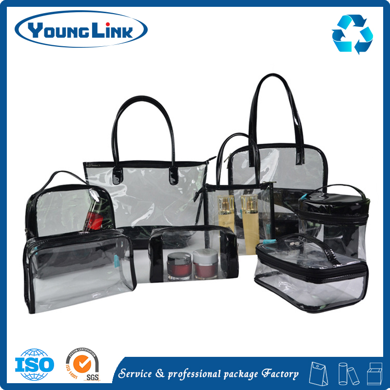 Unique customized transparent clear EVA PVC plastic shopping zipper bag