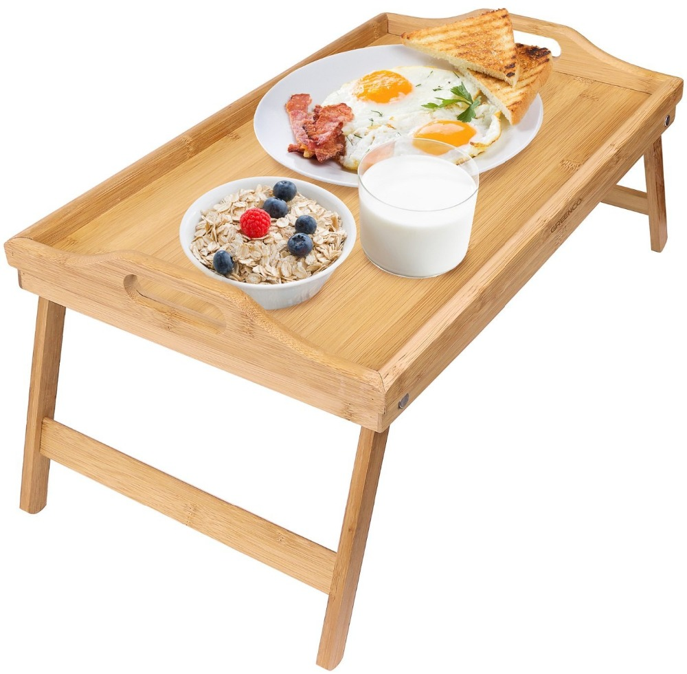 Bamboowood tray / bamboo Food Serving bed table Tray