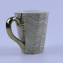 Gift idea glossy silver and gold ceramic mug handle mug cup