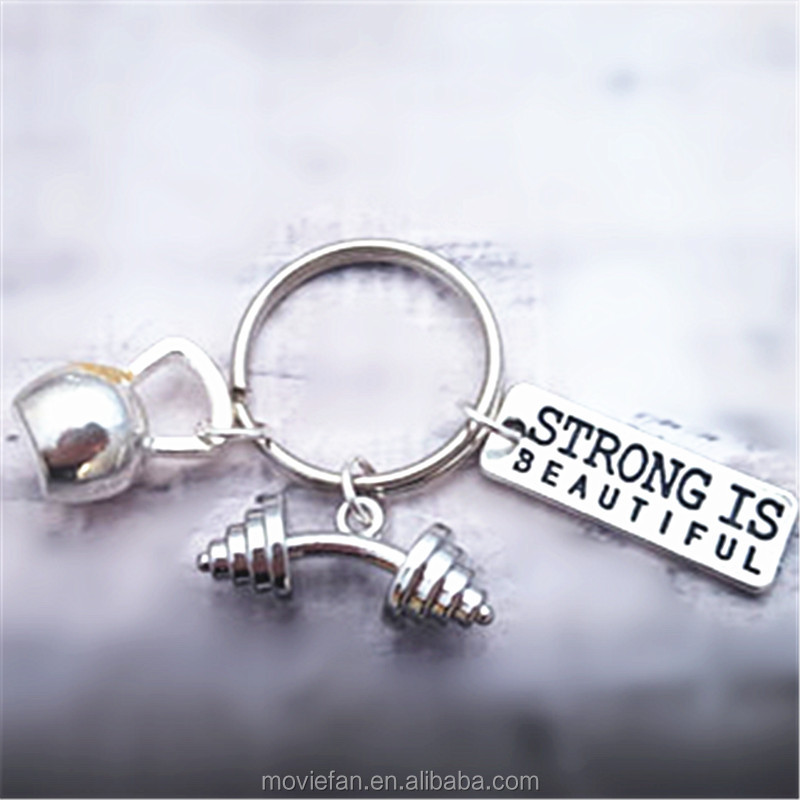 Gym Keyring Fitness Keychain Charms Gym Accessory Dumbell Keyring Strong Is Beautiful Kettlebell Keyring
