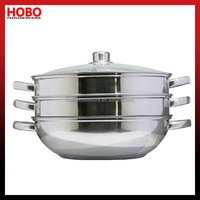 Diameter 30cm Stainless Steel 3-tier steamer set(4pcs)