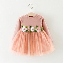 Spring autumn baby Girl Party Dress Children Flock Designs Beautiful Baby Girl Wedding Dress