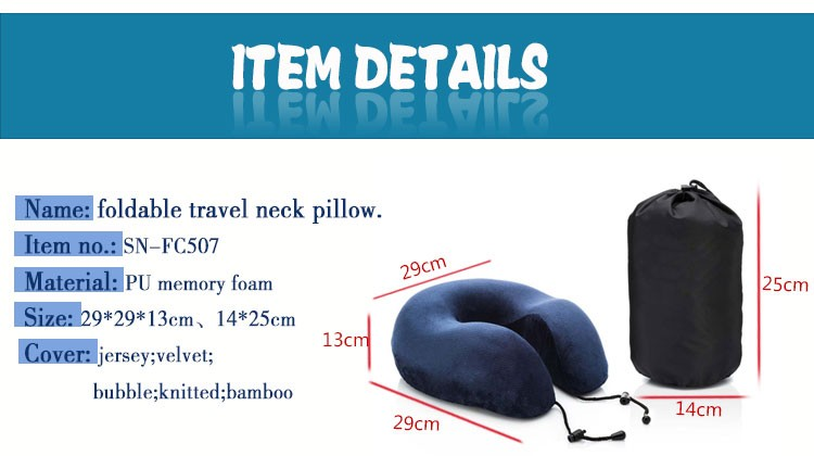 Memory foam adjustable size folding soft roll neck pillow with carry bag