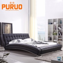 B-A059# Italian fashionable black leather king size bed