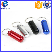 Pocket Size Aluminum Pill Box Cache Container with Key Ring