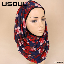 Instant Long Floral Print Headscarf Wholesale Malaysia Women Jersey Scarves Muslim Sexy Hot Arab Hijab