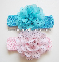 "CF 0808 1.5""girls hand custom printed fabric flower elastic free knitted headband patterns"