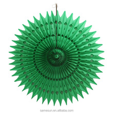 Chinese Green Round Tissue Paper Fan for Party Decoration
