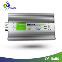 250w 12v 24v dc led power supply ip67 constant voltage AC/DC led driver for outdooor lighting