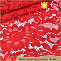 Professional design knitted soft embroidery lace fabric for cloth