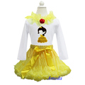 Girls Yellow Pettiskirt Tutu Embroidered Belle Princess Long Sleeves Tee Party Dress 1-7Y