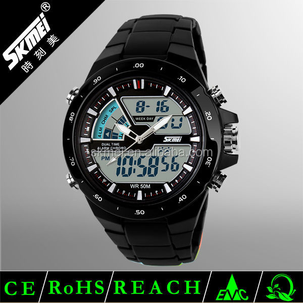 Alibaba china factory analog digital watch with #1016 model number Dual time plastic