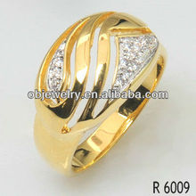 fashion jewelry diamond CZ rings with gold plating