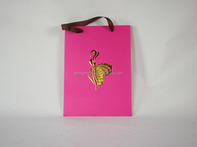 2015 Custom Printing Luxury Pink Paper Bag With Hot Foil Logo