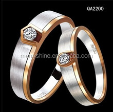 2014 Hot Sale 925 Sterling Silver 18K Gold Zircon Engagement Couple Wedding Rings Lover Couple Rings QA2200