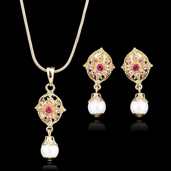Wholesale real platinum 925 sterling silver stylish fake 24k 18k gold plated jewelry set sets with 18 24 carat half ball price