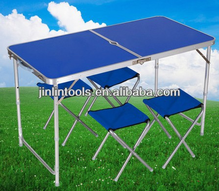 MAX 100KGS 2PCS Folding portable alumimum camping table+4 pcs benchs