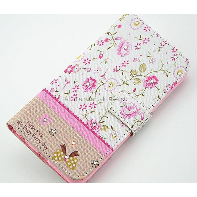 Free sample flower PU leather wallet flip phone case for Nokia 630 1020