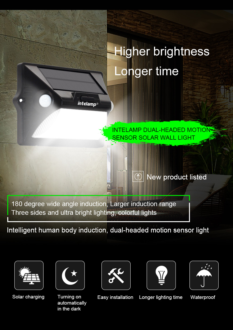 Intelamp 7 color changing waterproof garden solar motion sensor wall light for lighting and decoration