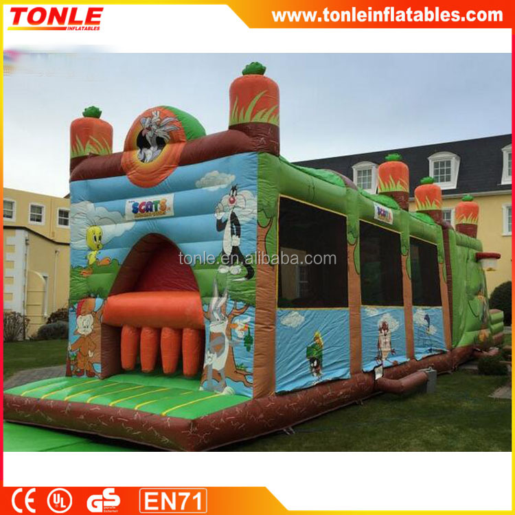 Gaint impressive inflatable Looney Tunes Obstacle Course for sale
