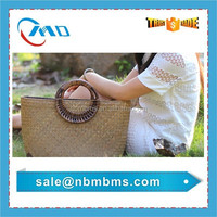 New Fashion Cheap Straw Bamboo Handle Beach Bag