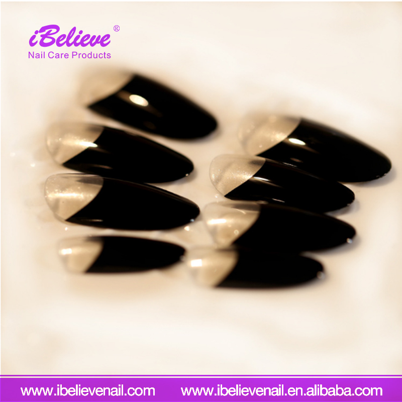Hot Sale Black French Nail Art Sticker Decal Tips Long Full Cover False Nail
