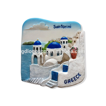 Wholesale Greece Souvenir Magnets Santorini 3D Resin Fridge Magnet Home Decoration Polyresin Magnet