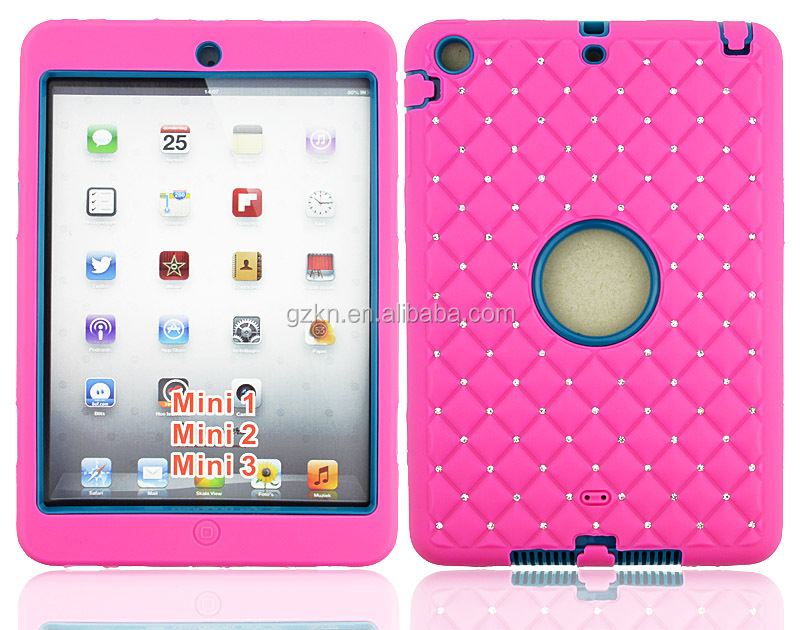 For iPad mini 123 shockproof defender case with rhinestone design