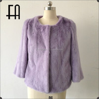 Factory direct wholesale lady's fashion short mink fur coat/mink fur coat china/purple mink fur coat
