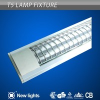 0.6mm SPCC Body T5 Hanging Fluorescent Light Fixtures with Plastic Grid